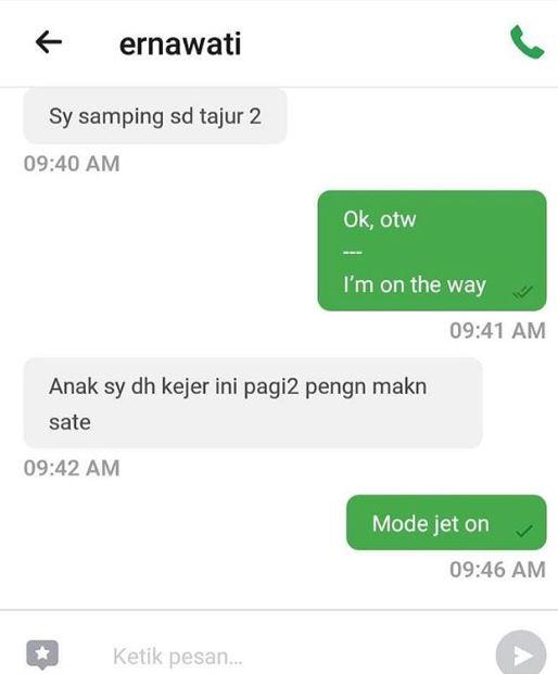 chat arahan penumpang ojol Instagram