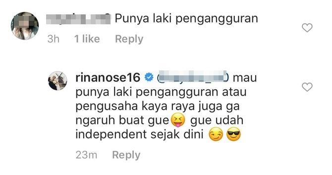 Suami dicibir pengangguran, begini jawaban nampol Rina Nose © 2020 instagram.com