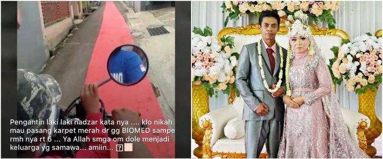 Viral pengantin gelar karpet merah 1 kilometer, ini alasannya