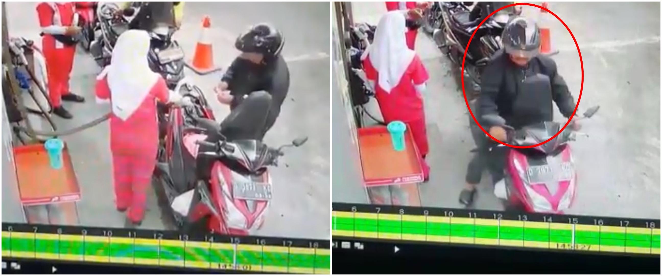 Detik-detik pria isi bensin lupa tutup jok ini bikin ketawa