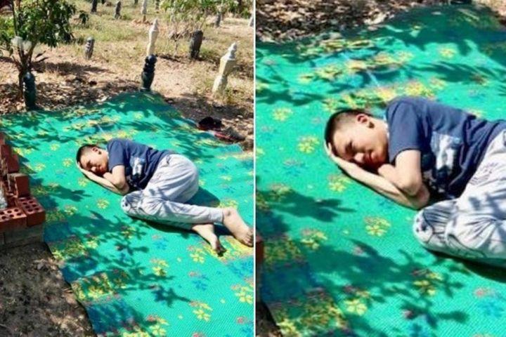 Rindu kasih orangtua, remaja autis ini tidur di makam sang ayah