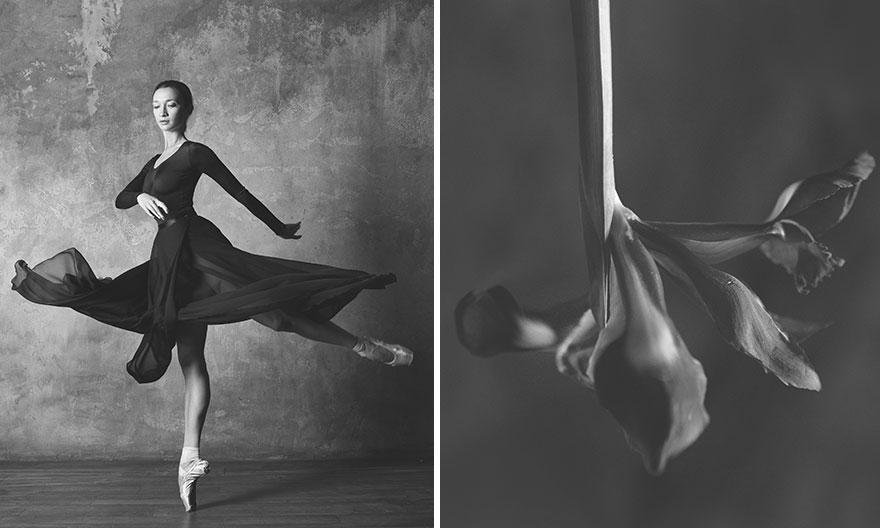 Cocoklogi penari balet dengan bunga internet