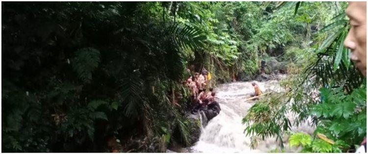 Begini kondisi sungai saat siswa SMPN 1 Turi Sleman lakukan penyusuran
