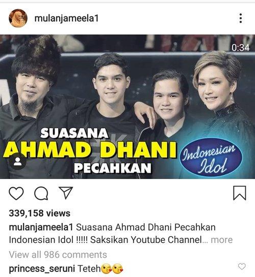 Mulan Jameela unggah pertemuan Dhani & Maia  Instagram