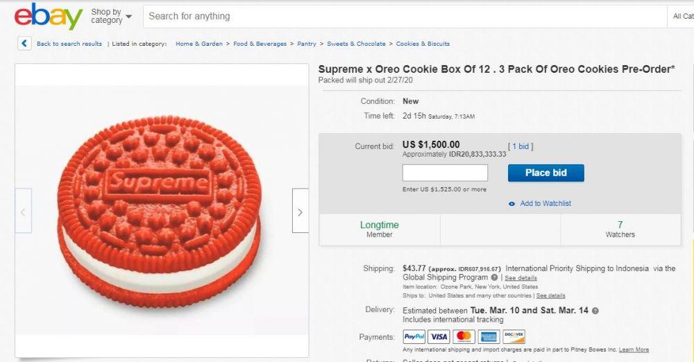 oreo supreme di tawar hingga Rp.20 juta ebay.com