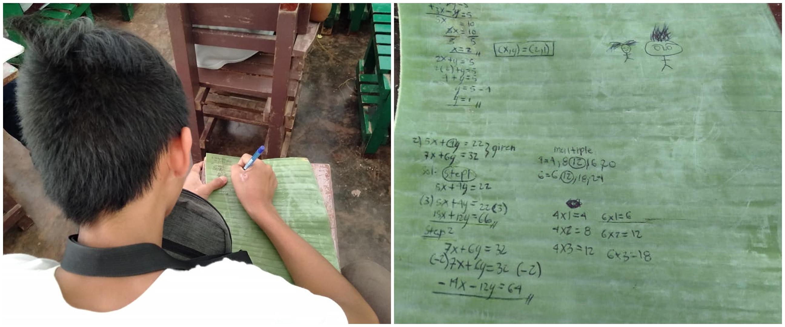 Kisah haru murid menulis di daun pisang sebagai pengganti buku tulis