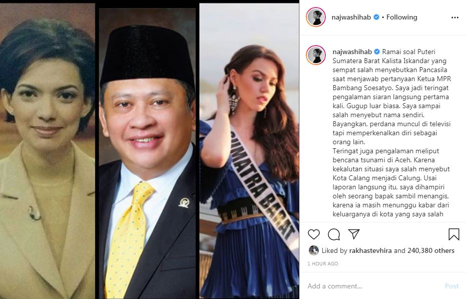 Dukungan Najwa Shihab untuk Kalista Iskandar Instagram