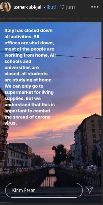 isolasi Corona di Italia © 2020 Instagram/@asmaraabigail
