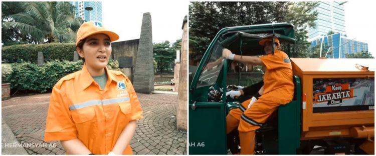 10 Potret Ashanty jadi pasukan orange nyapu jalan, bikin salut