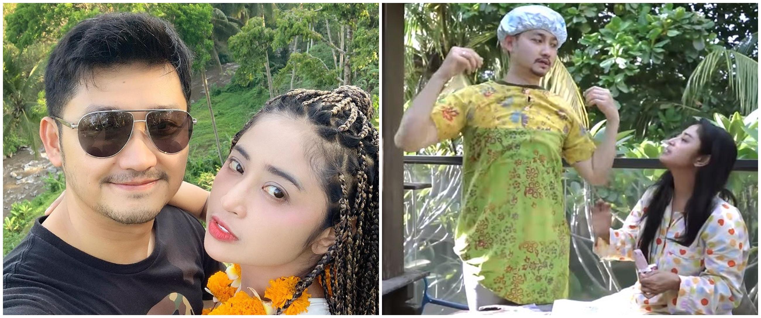 10 Momen lucu Angga Wijaya pakai daster, di-prank Dewi Perssik