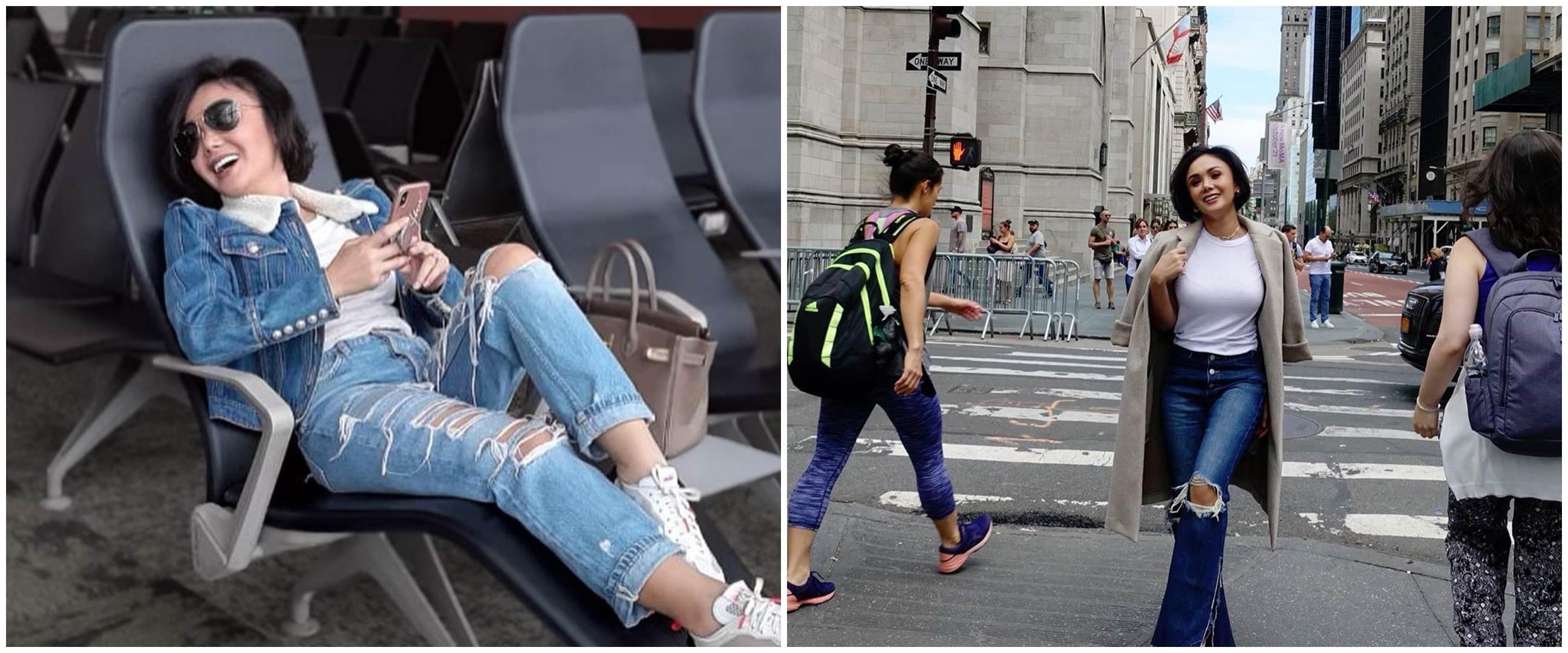 9 Gaya Yuni Shara menggunakan jeans sobek-sobek, bak ABG