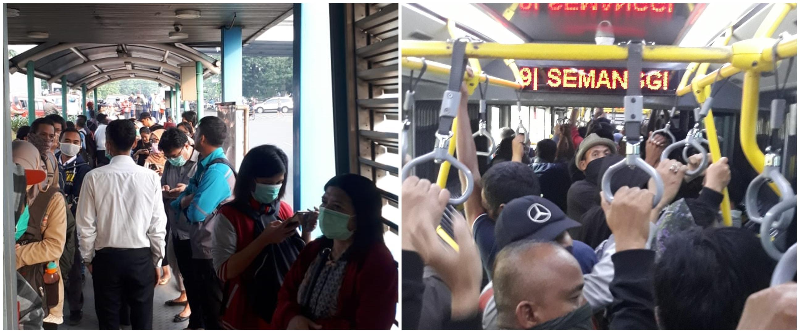 6 Potret antrean penumpang Trans Jakarta usai pembatasan rute