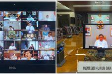 7 Potret rapat terbatas Presiden Jokowi dengan menteri via daring