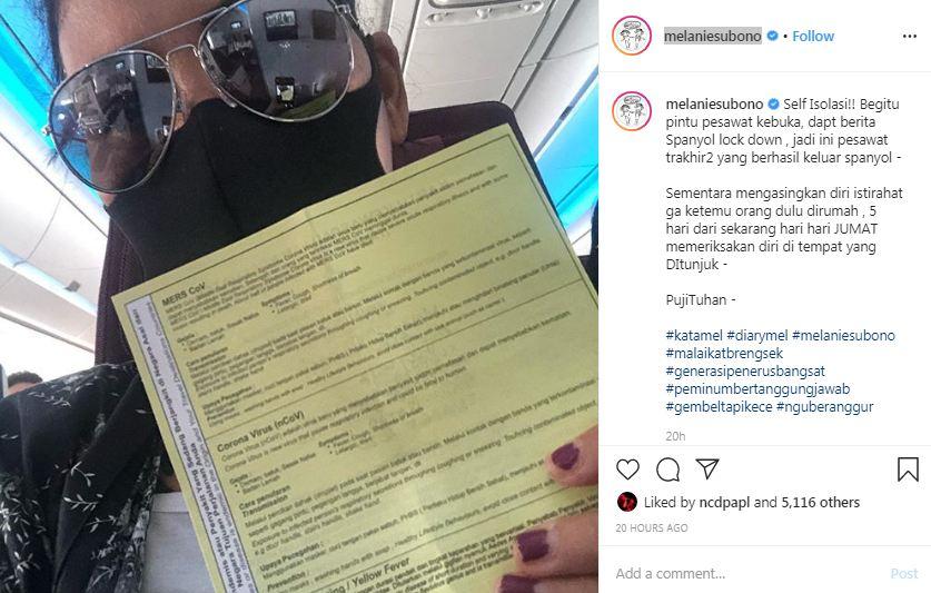 Melanie Subono isolasi diri © 2020 Instagram/@melaniesubono