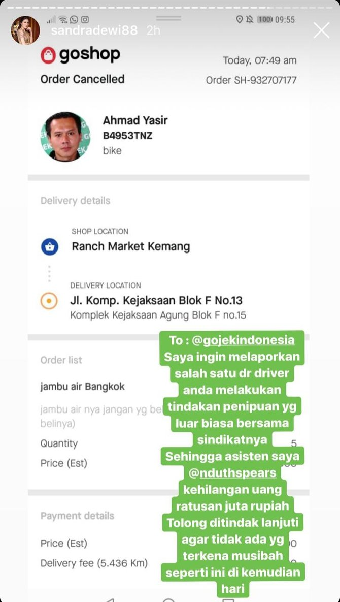 Asisten Sandra Dewi Kena Tipu Oknum Ojek Online Rugi Ratusan Jut