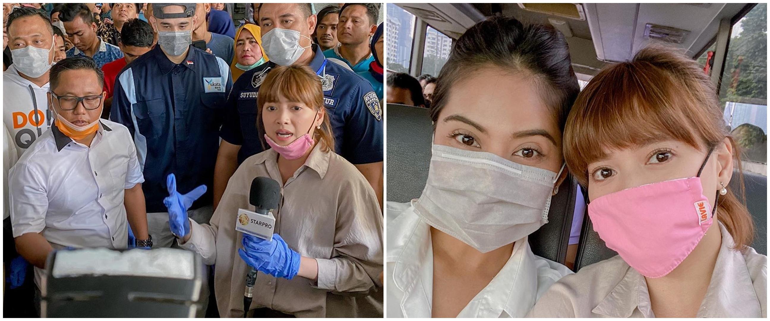 6 Momen Chika Jessica bagi-bagi masker saat Corona mewabah