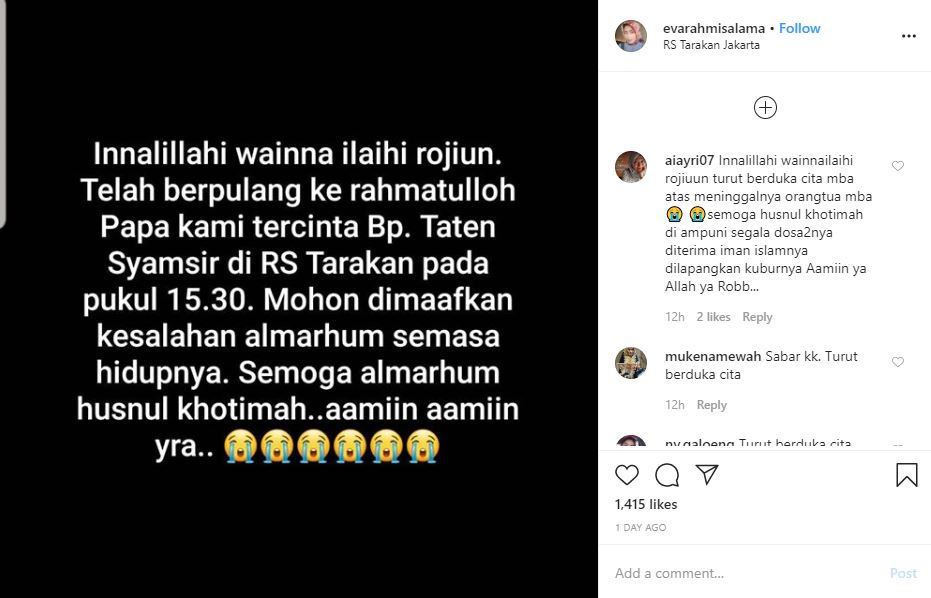 Ibunya meninggal karena Corona Instagram