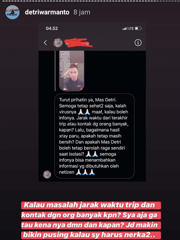 Demitri Warmanto akui menyesal  © 2020 Instagram/@detriwarmanto
