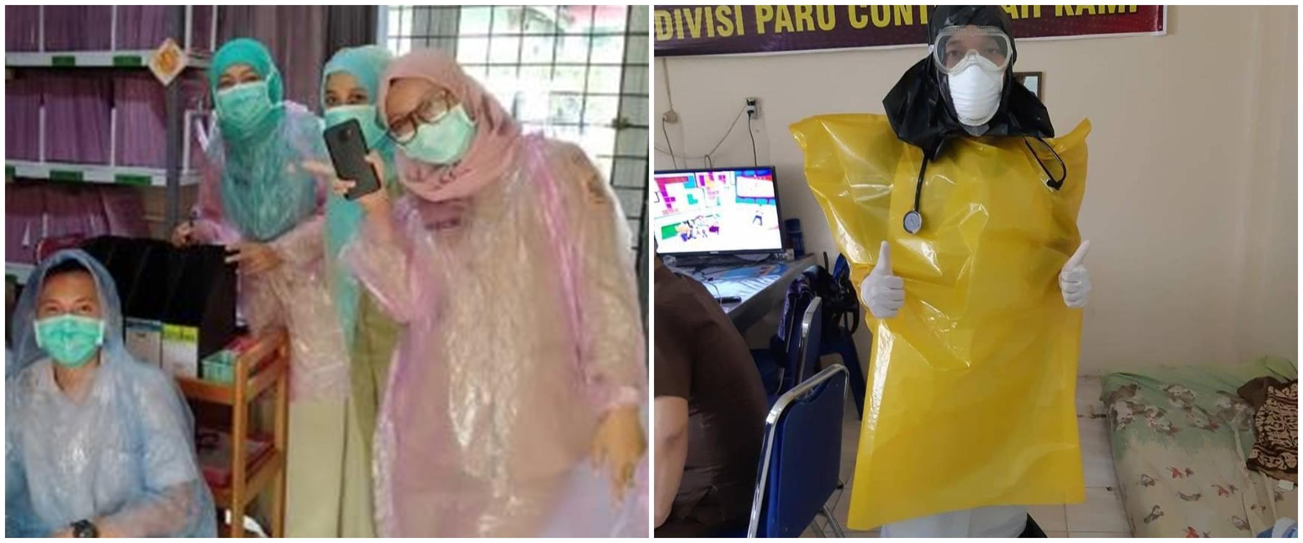 5 Potret paramedis pakai APD dari plastik sampah dan jas hujan