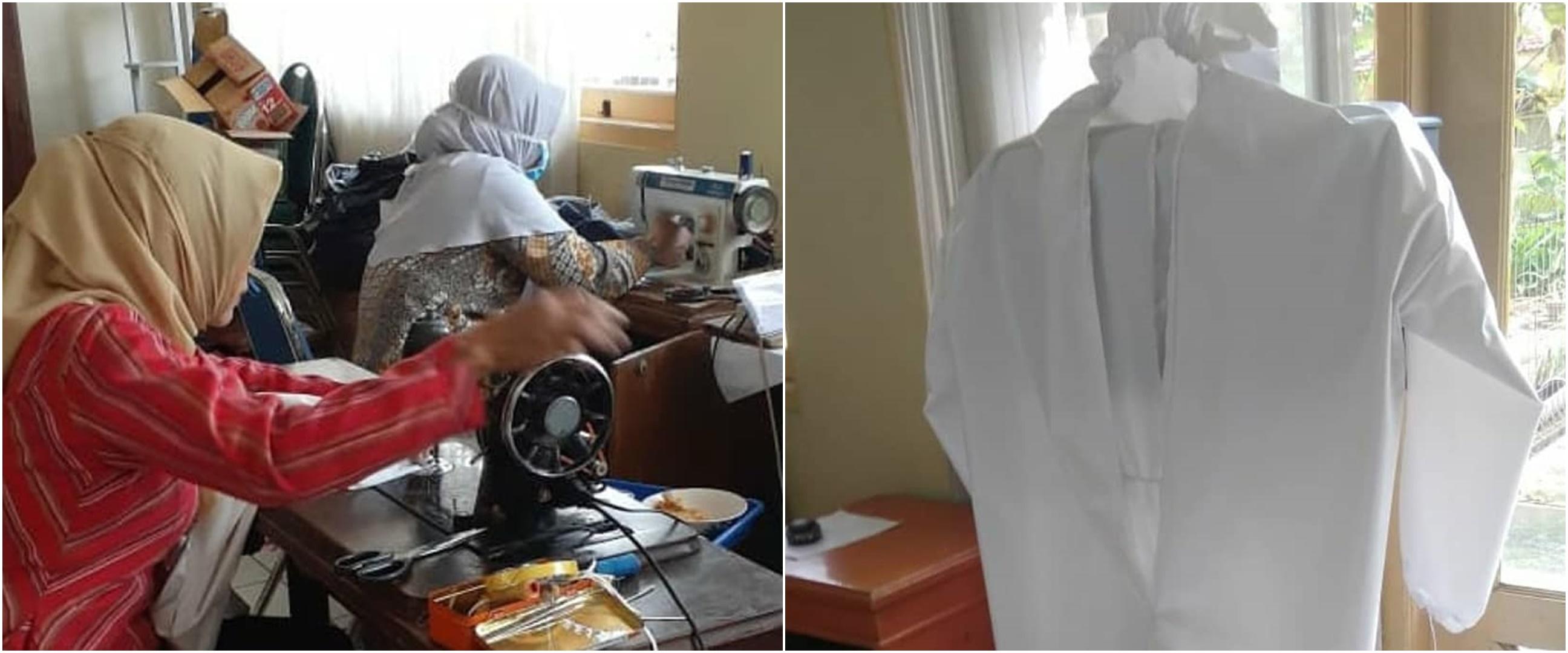 5 Potret pasien rehabilitasi rumah sakit jiwa bantu siapkan APD