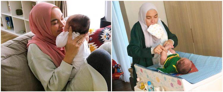 Jadi ibu baru, ini 7 momen Tika Bravani 'Denok TOP' momong anak