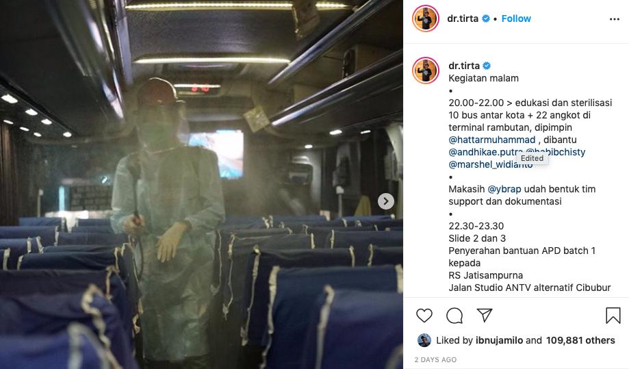 Potret perjuangan Dokter Tirta Instagram