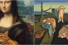 10 Foto lukisan ikonik diedit gambar kucing, ngeselin tapi kocak