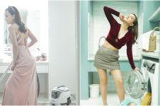 7 Gaya Shandy Aulia saat di rumah saja, nyuci piring pakai high heels