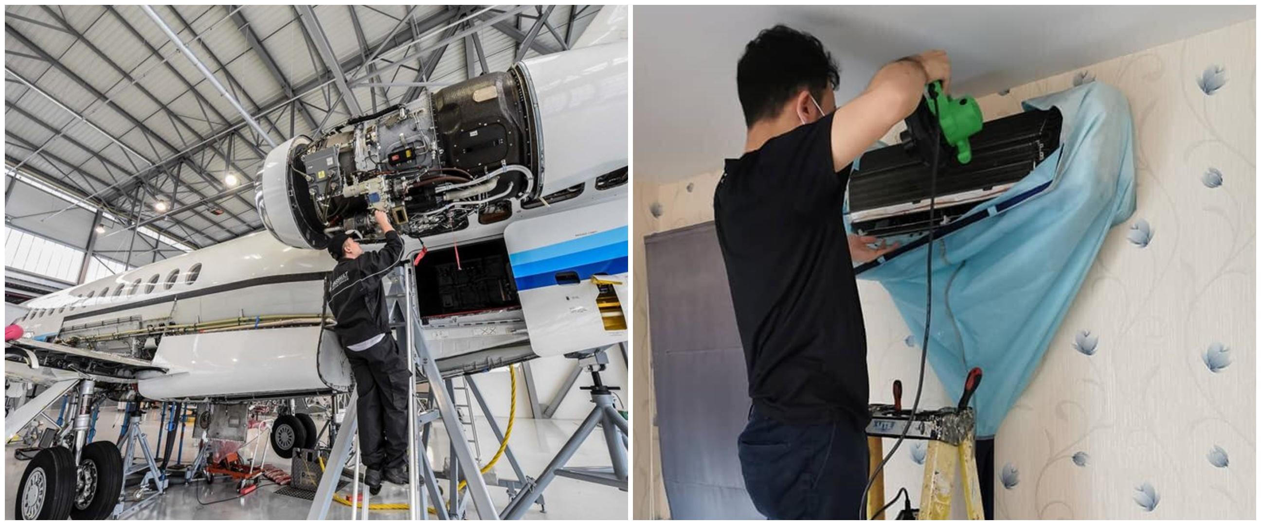 Gara-gara corona, teknisi pesawat ini rela jadi tukang AC