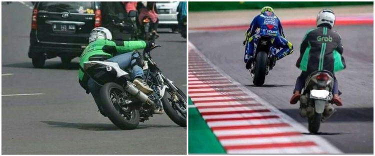 10 Potret lucu driver ojek online berlagak pembalap MotoGP