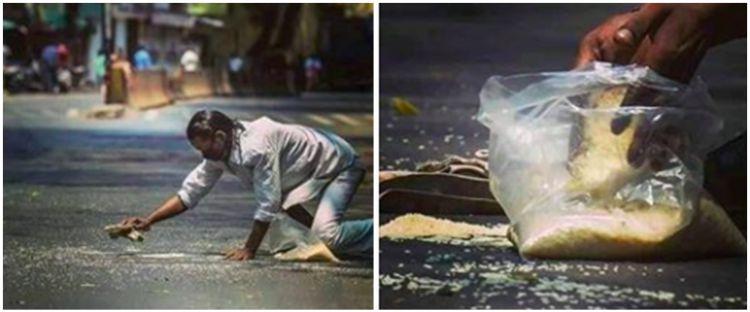 Pria ini pungut dan kumpulkan beras di jalan, potretnya bikin pilu