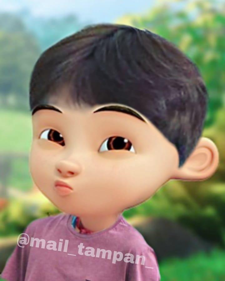 8 Foto editan tokoh kartun Upin & Ipin jadi oppa Korea, g