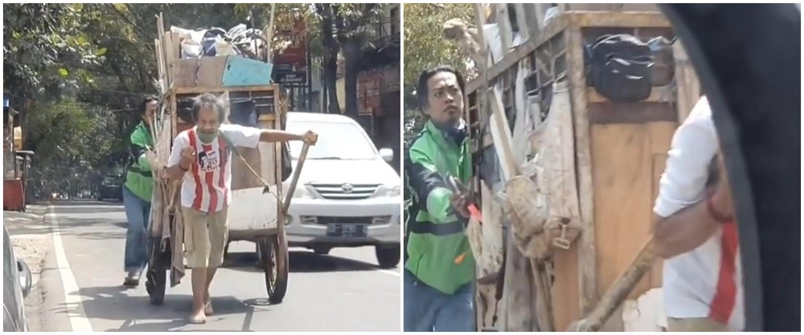 Momen haru driver ojek online bantu dorong gerobak pemulung