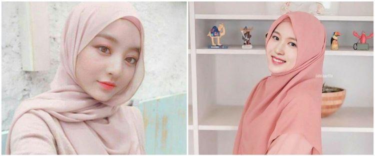 9 Editan foto member Twice pakai hijab, tampil manglingi