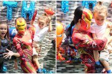 8 Momen perayaan ulang tahun anak Melaney Ricardo, bertema IronMan
