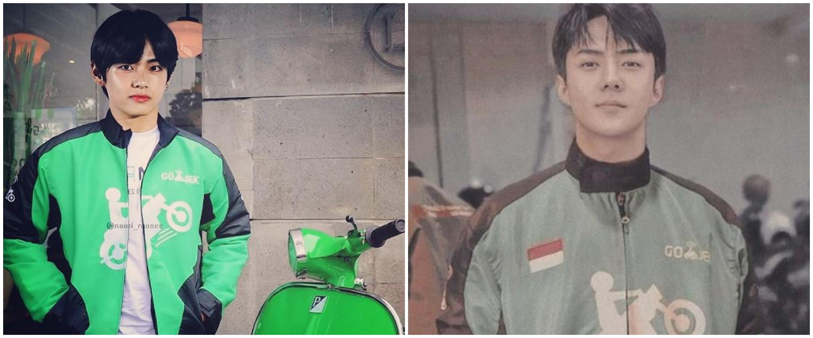 10 Editan foto idol K-Pop jadi driver ojol, kocak pol