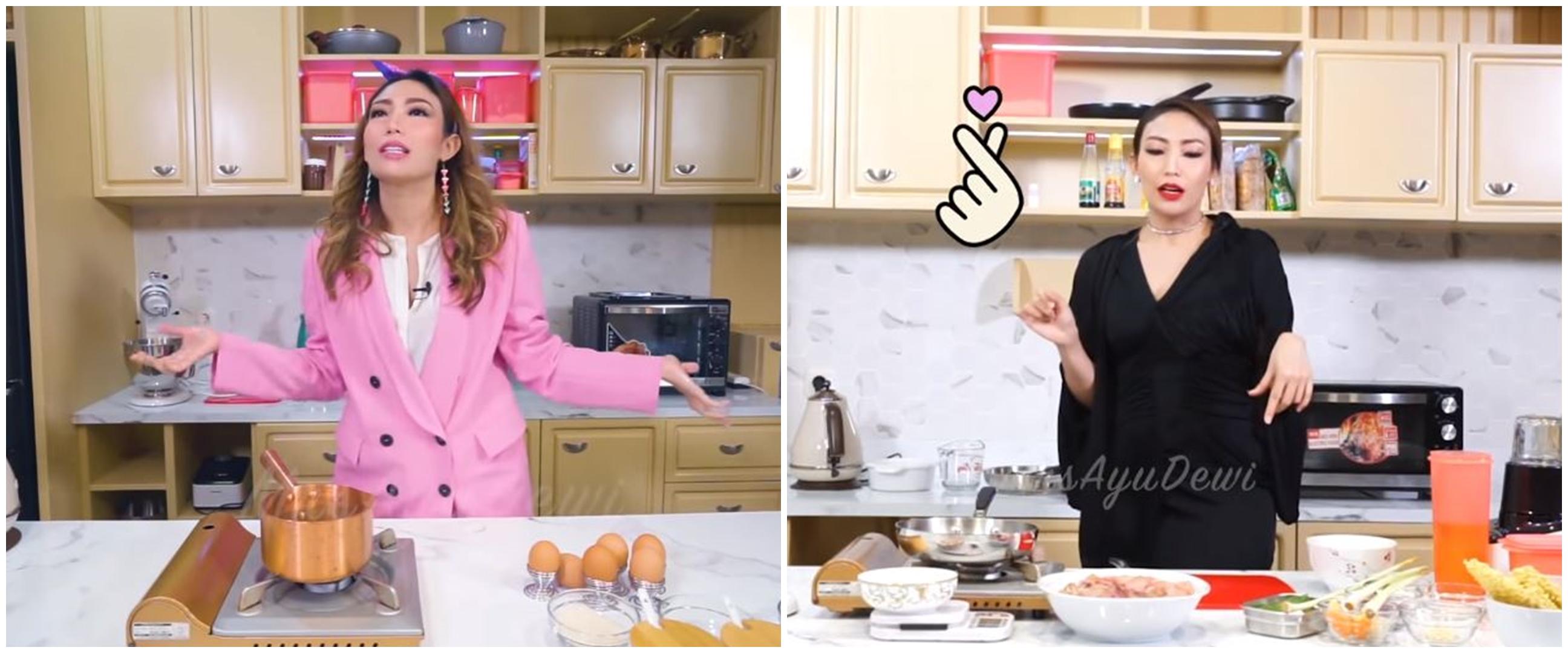 7 Gaya Ayu Dewi masak selama di rumah, modis dan full makeup