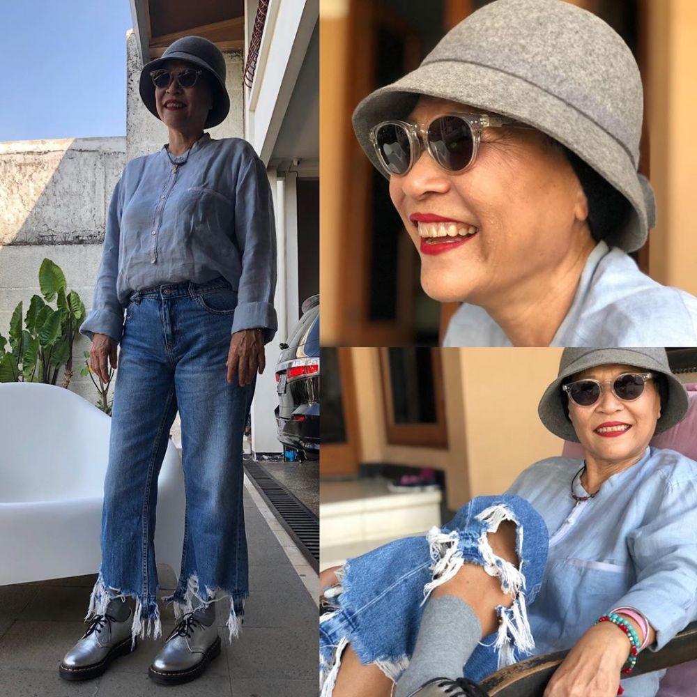 gaya outfit Ida Hassan ibu Okky Lukman © 2020 brilio.net