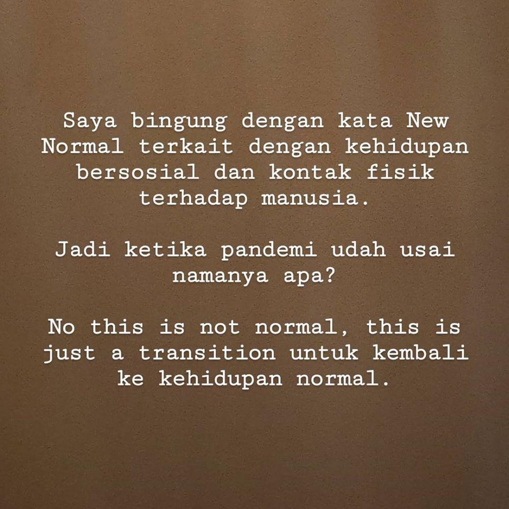 atiqah hasiholan berikan pendapat istilah new normal instagram