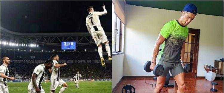 6 Potret aksi Cristiano Ronaldo duel udara, seperti sedang terbang