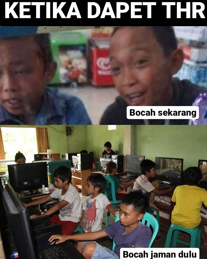 Meme bocah habisin THR Berbagai sumber