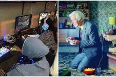 8 Potret orang berumur bermain game, bukti jiwa muda membara