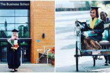 10 Potret terbaru Raeni, mahasiswa yang wisuda diantar ayah naik becak