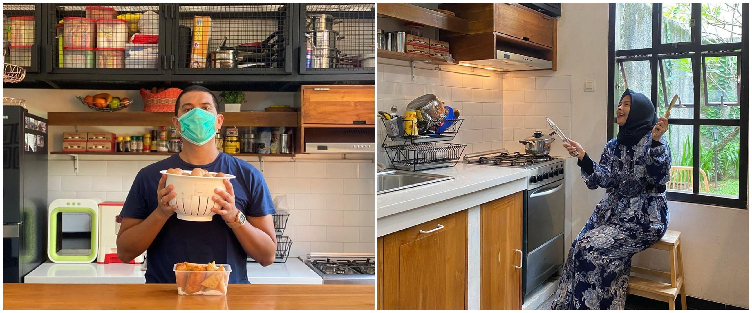 10 Penampakan dapur Tantri Kotak yang minimalis dengan nuansa kayu