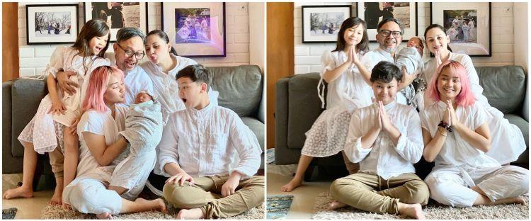 8 Potret newborn anak Mona Ratuliu & keluarga, simpel dan kasual