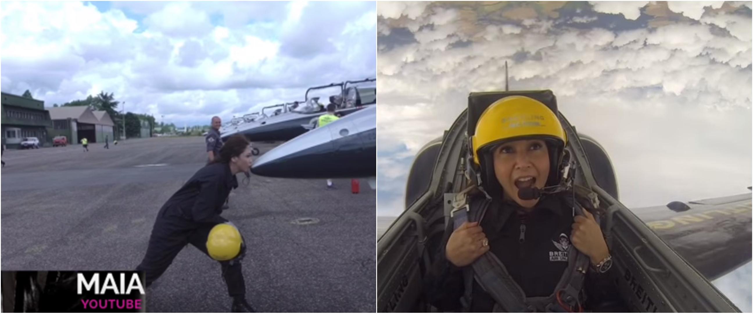 10 Potret Maia Estianty naik jet tempur di Perancis, seru banget
