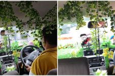 Interior taksi online ini dipenuhi tanaman hias, alasannya tak terduga