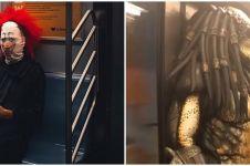 10 Potret penumpang kereta pakai kostum aneh ini bikin ngeri