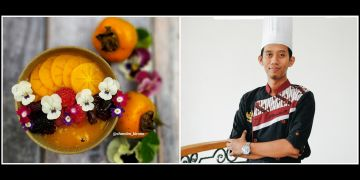 Resep persimmon smoothie bowl, makin estetis dengan edible flower