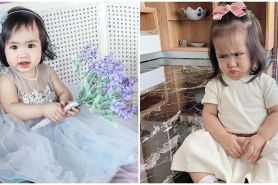 8Pose ekspresif Sheena Gabriella anak Momo Geisha, gemas maksimal